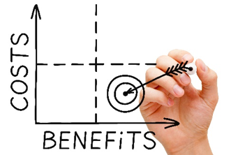 Low cost, high benefits graph chart